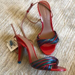 Zara red and multicolor strappy heel